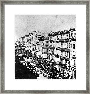 Lincolns Funeral Procession, 1865 Framed Print