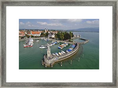 Lindau Harbor Lake Constance Bavaria Germany Framed Print