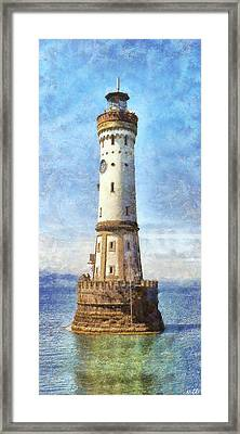 Lindau Lighthouse In Germany Framed Print