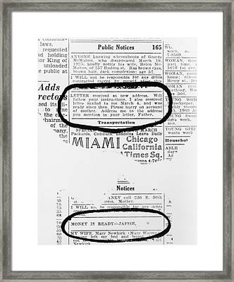 Lindbergh Baby Kidnapping. Two Notices Framed Print by Everett