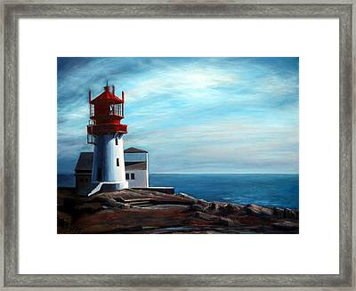 Framed Print featuring the painting Lindesnes Lighthouse by Janet King