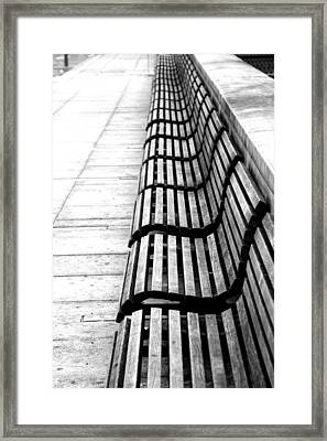 Line Of Empty Benches Framed Print by Christoph Hetzmannseder