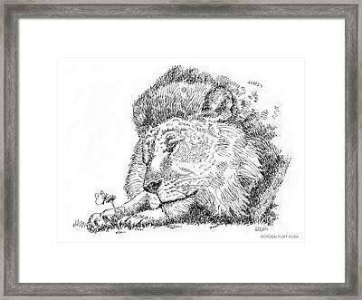 Lion-artwork Framed Print by Gordon Punt