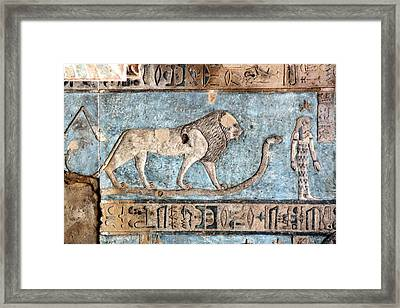 Lion At Dendera, Egypt Framed Print by Joe & Clair Carnegie / Libyan Soup