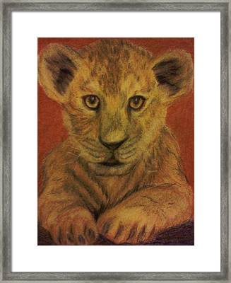 Framed Print featuring the pastel Lion Cub by Christy Saunders Church
