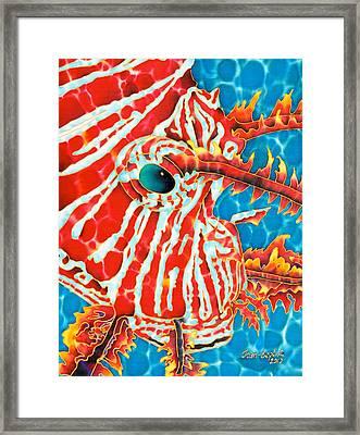 Lion Fish Face Framed Print by Daniel Jean-Baptiste