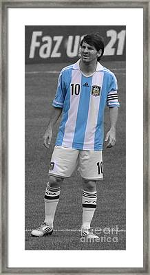 Lionel Andres Messi Black And White Framed Print