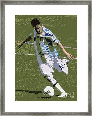 Lionel Messi Kicking II Framed Print by Lee Dos Santos