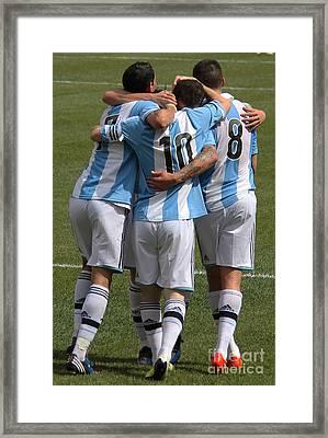 Lionel Messi Teamwork Framed Print by Lee Dos Santos