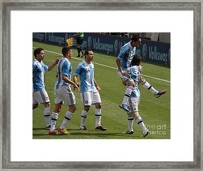 Lionel Messi The Hug Framed Print by Lee Dos Santos