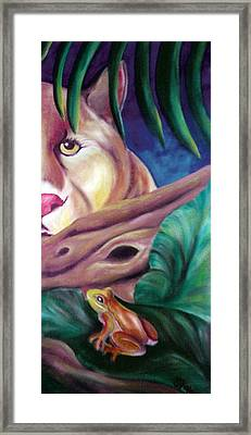 Lioness And Frog Framed Print