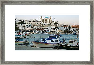 Framed Print featuring the photograph Lipsi Harbour by Therese Alcorn