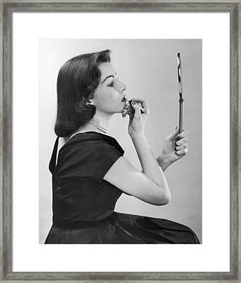 Lipstick Lady Framed Print by A E French