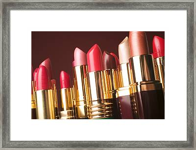 Lipstick Tubes Framed Print by Garry Gay