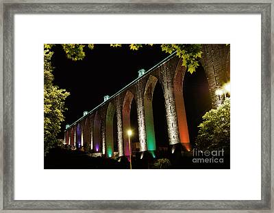 Lisbon Historic Aqueduct By Night Framed Print