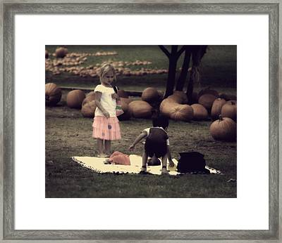 listen Its your turn to watch the baby I'm going shopping Framed Print by Kelly Rader