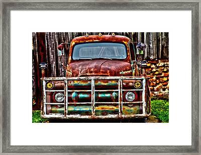 Lit Up Ford Framed Print by Toni Hopper