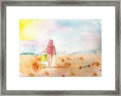 Little Beach Girl Framed Print by Ellyn Solper
