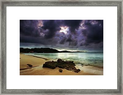 Framed Print featuring the photograph Little Beach Sunset by Paul Svensen