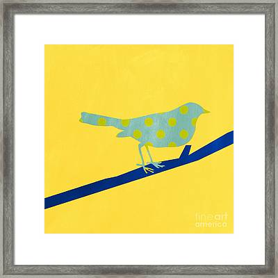 Little Blue Bird Framed Print by Linda Woods