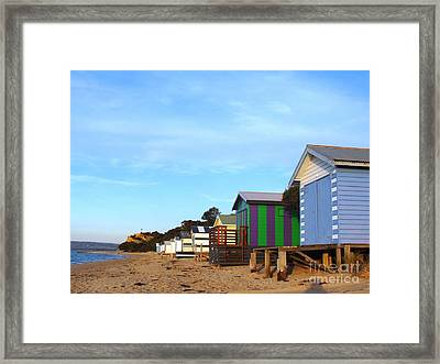 Little Boatsheds In A Row Framed Print