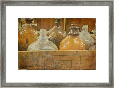 Little Brown Jugs Framed Print by Jan Amiss Photography