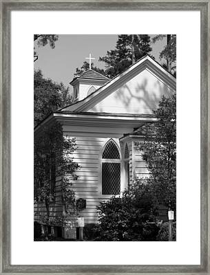 Little Chapel In The Woods In Black And White Framed Print by Suzanne Gaff