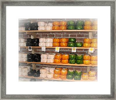 Little Cheeses On A Shelf In Amsterdam Framed Print by Trude Janssen