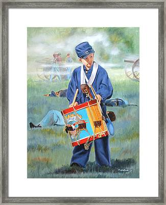 Framed Print featuring the painting Little Drummer Boy by Karen Wilson