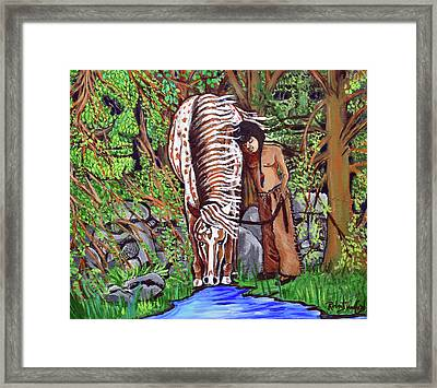 Little Eagle And Thunder Framed Print by Bob Crawford