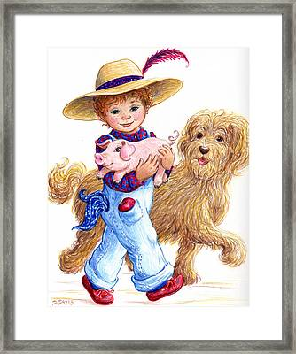 Little Farm Boy Framed Print by Dee Davis