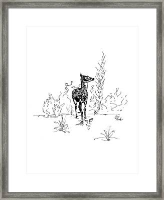 Framed Print featuring the drawing Little Fawn by Brent Ander
