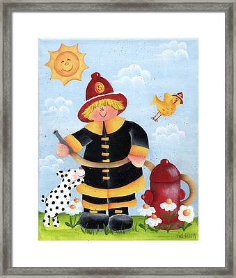 Little Fireman Framed Print by Pat Olson