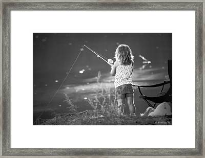 Little Fishing Girl Framed Print