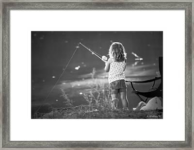 Little Fishing Girl Framed Print