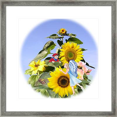 Little Folk Among The Sunflowers Framed Print by Maureen Carter