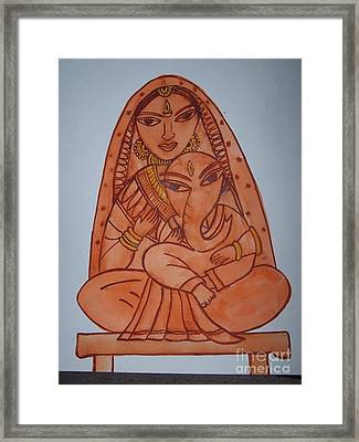 Little Ganesh And Parvati Framed Print by Anu Darbha