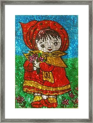 Little  Girl - Glass Painting Framed Print by Rejeena Niaz