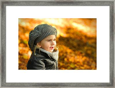 Little Girl In Autumn Leaves Scenery At Sunset Framed Print