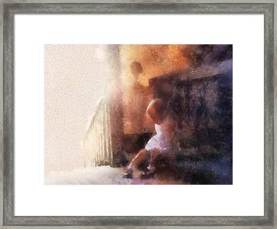 Little Girl Thinking Framed Print