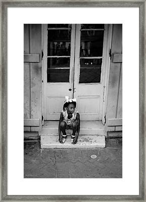 Little Girl Waiting Framed Print