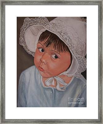 Little Girl With Lace Hat Framed Print by Jane Honn