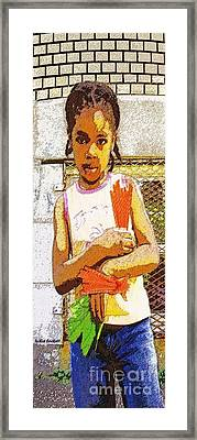 Little Girl With Red Licorice And Maple Leaf Framed Print by Lydia Lockett