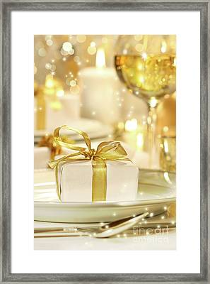 Little Gold Ribboned Gift Framed Print by Sandra Cunningham