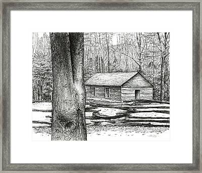 Framed Print featuring the drawing Little Greenbrier School House by Bob  George