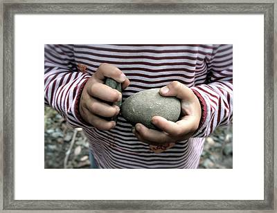 Little Hands Of Stone Framed Print by Lennie Green