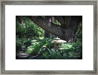 Little Pagoda Under The Big Tree Framed Print by Tanya  Searcy
