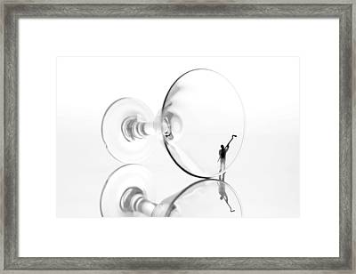 Little People Cleaning Wine Cup  Framed Print
