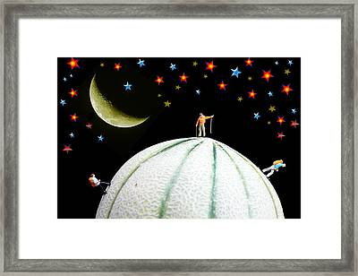 Little People Hiking On Fruits Under Starry Night Framed Print by Paul Ge