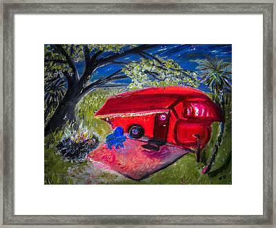 Little Red Camper Framed Print by Christy Usilton